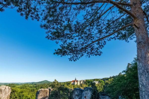 Hruba Skala Chateau and Trosky Castle on the Horizon, Bohemian Paradise, Czechia