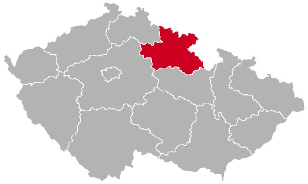 Hradec Kralove Region on the Map