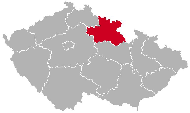 Hradec Kralove Region on the Map