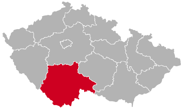 South Bohemian Region on the Map