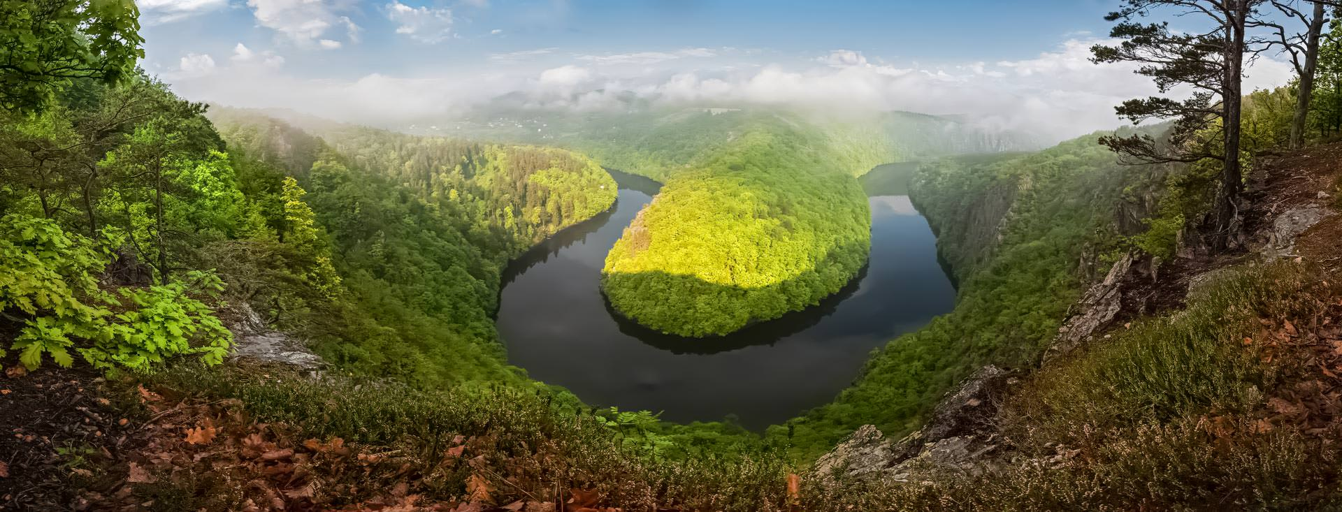 Panoramic view of the Vltava Meander near Teletín, Central Bohemia, Czechia