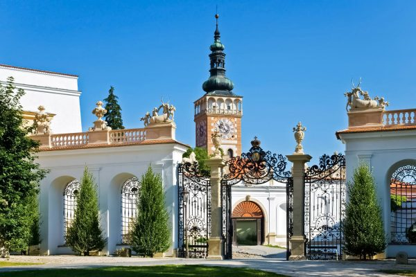 Castle gate and St. Wenceslas Church in Mikulov, South Moravia Czechia