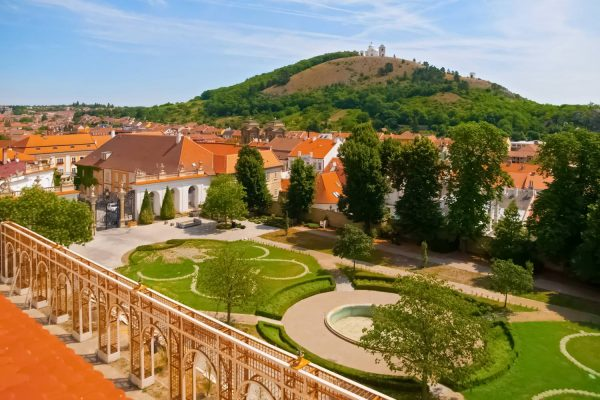 View of Holy Hill and castle park from Mikulov Castle, Czech Republic