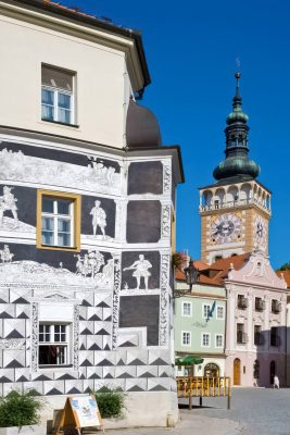 Sgraffito House and St. Wenceslas Church in Mikulov, Moravia, Czechia