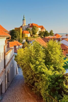 Mikulov Chateau as seen from the town, Moravia, Czechia