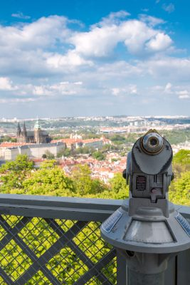 Petrin Lookout Tower - Telescope directed towards Prague Castle