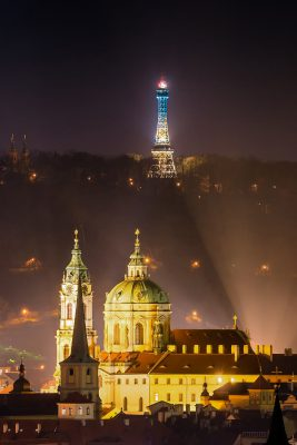 St. Nicholas Church and Petrin Tower at Night, Prague, Czechia