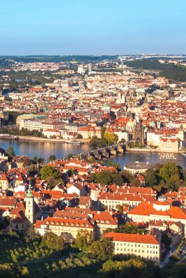 View from Petrin Tower towards Charles Bridge and the Old Town, Prague, Czechia