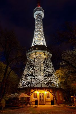 Petrin Lookout Tower in Prague at Night, Czechia