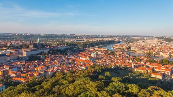 Panoramic View from Petřín Lookout Tower, Prague, Czechia