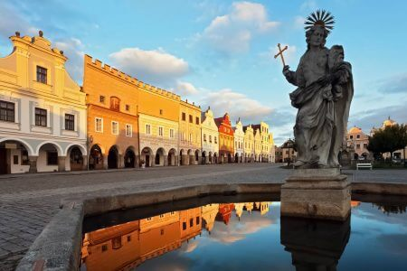 Statue of St. Margaret in Telc, Czechia