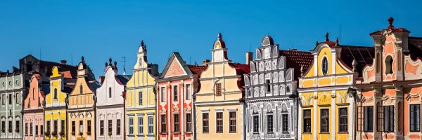 Panoramic view of Colourful Houses in Telč, Czechia