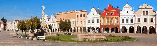 Panoramic view of Renaissance Houses in Telč, Czechia