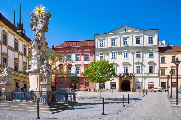 St.Trinity Column at Zelny trh square in Brno, Moravia Czech Republic