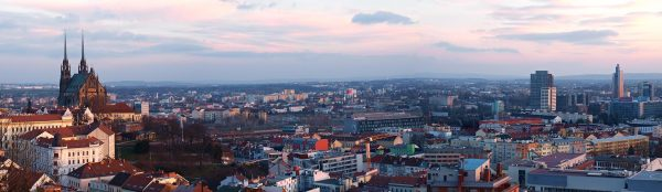 Evening Panorama of Brno, Moravia, Czech Republic
