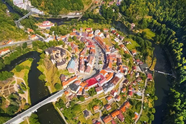 Aerial view of the town Loket near Karlovy Vary in Czechia