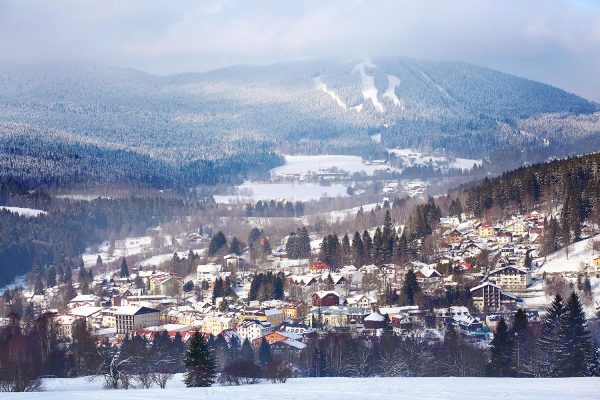 Skiing resort of Železná Ruda in Sumava, Czechia