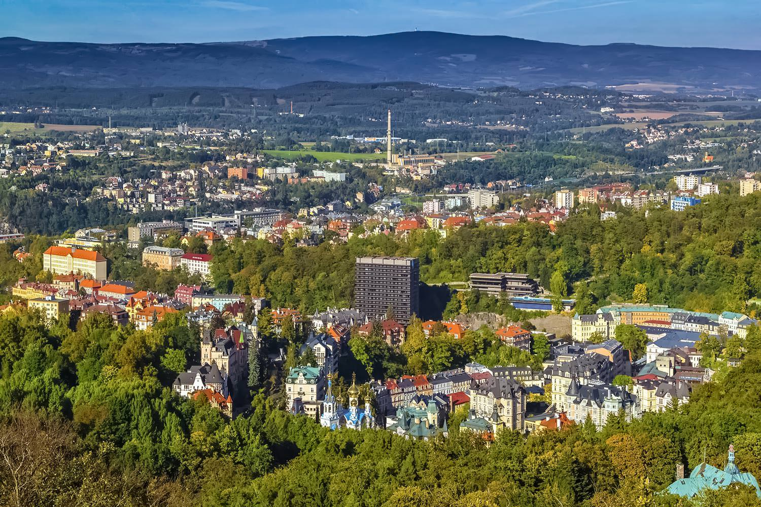 Panorama of Karlovy Vary from Diana observation tower, Czech republic