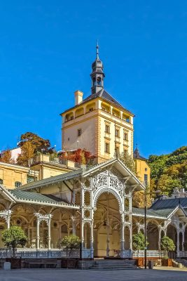 Market Colonnade and Castle Tower, Karlovy Vary, Czechia