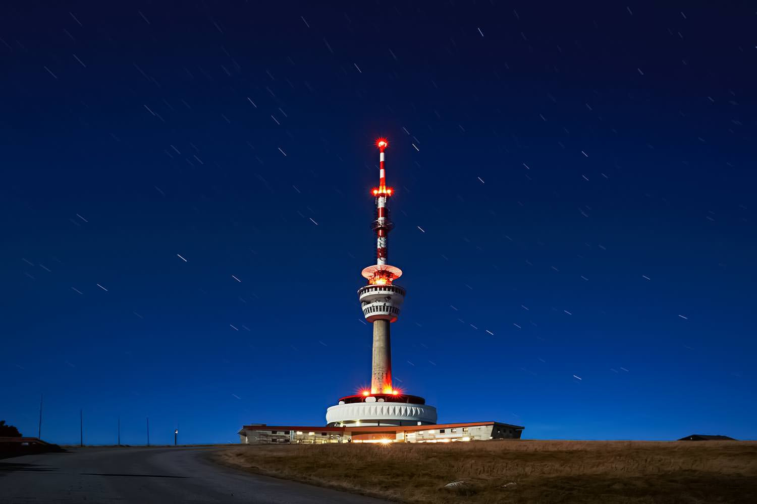 Praděd Tower at Night, Jeseníky, Czechia