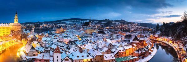 Winter Panorama of Český Krumlov, Czechia