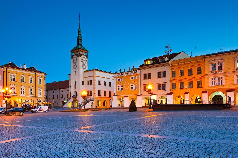 The Large Square with the Town Hall, Kroměříž, Moravia, Czechia