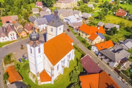 Aerial view of Velhartice, Czechia