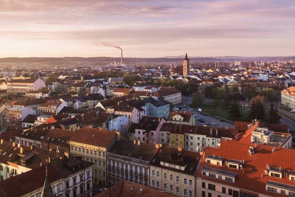 Panorama of České Budějovice at sunrise, South Bohemia, Czechia