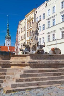 Neptune's Fountain, Olomouc Old Town, Moravia, Czechia