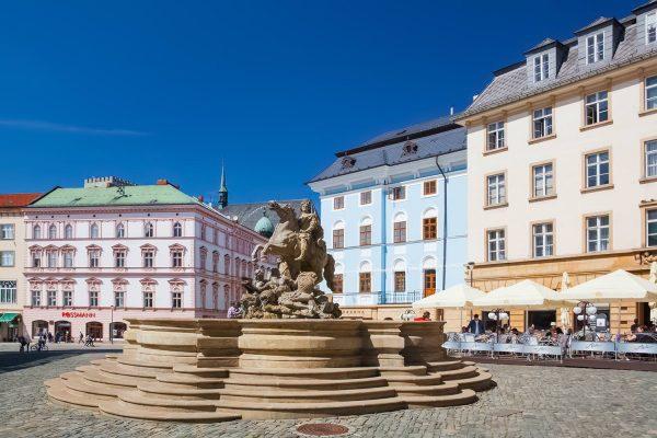 Caesar's Fountain and Horní Náměstí, Olomouc, Moravia, Czechia