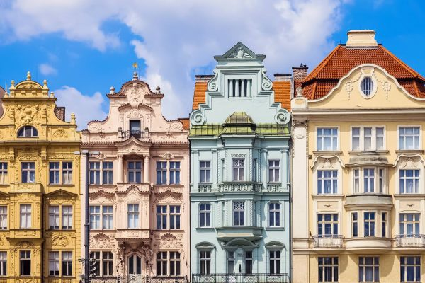 Houses on Republic Square in Pilsen (Plzeň), Czechia