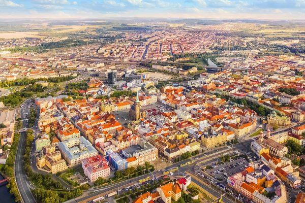 Aerial View of Pilsen (Plzeň), Bohemia, Czechia
