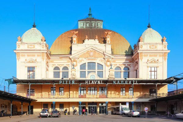 The Art Nouveau Building of the Main Train Station in Pilsen (Plzeň - hlavní nádraží), Czechia