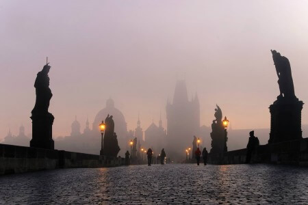 Charles Bridge In Prague on a Foggy Morning, Czech Republic