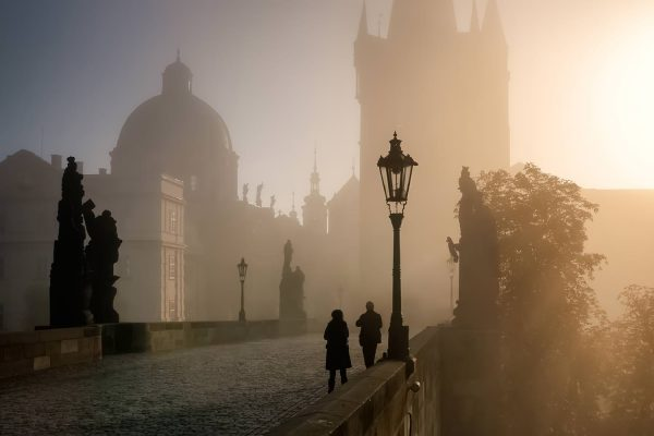 Foggy Sunrise on Charles Bridge, Prague, Czech Republic