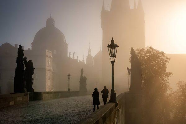 Foggy Sunrise on Charles Bridge, Prague, Czech Republic