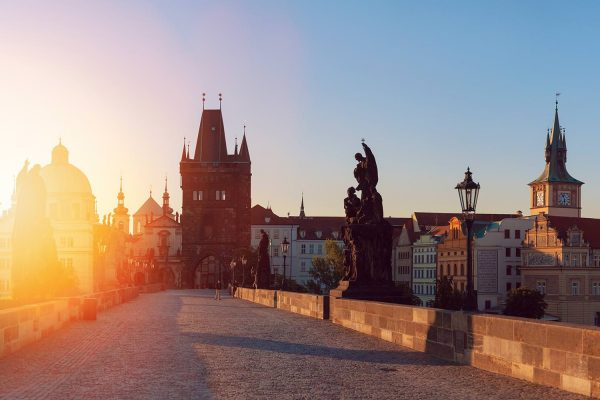 Charles Bridge in Prague at Sunrise, Czech Republic