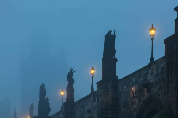 Charles Bridge Statues in Fog, Prague, Czechia
