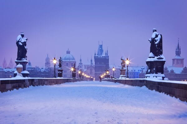 Charles Bridge in Winter, Prague, Czech Republic
