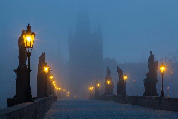 Charles Bridge Statues in Fog, Prague, Czechia