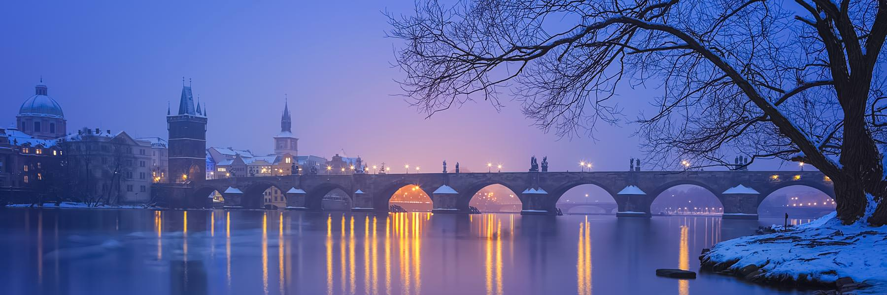 Charles Bridge in Prague at Night, Czech Republic
