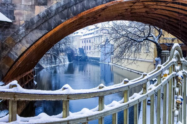 The Čertovka Channel (Devil's Stream) in Winter, Prague, Czechia