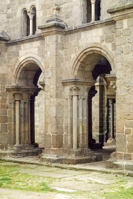 Arches of St. Procopius Basilica in Trebic, Vysocina, Czechia