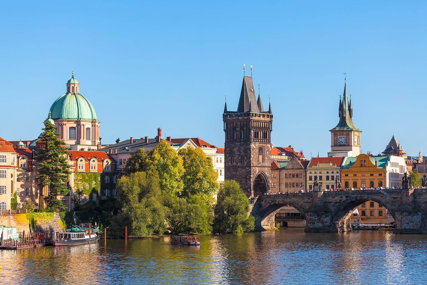Prague Skyline with the Old Town Bridge Tower and the Vltava