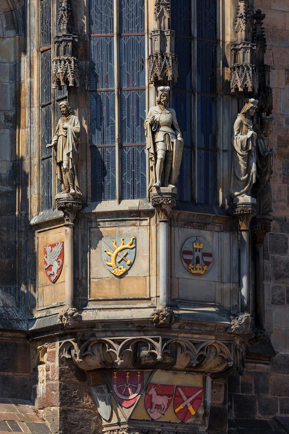 Detail of the Old Town City Hall in Prague, Czechia