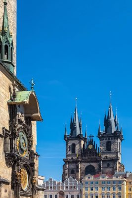 Prague Astronomical Clock and the Tyn Church, Old Town Square, Prague