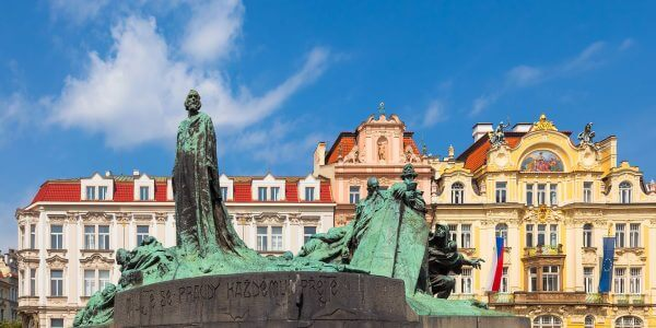 The Jan Hus Memorial in Old Town Square, Prague, Czechia