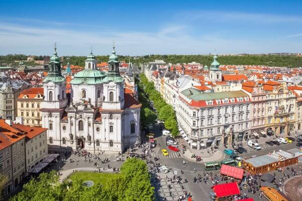 The Northern Side of Old Town Square with St. Nicholas Church, Prague, Czechia