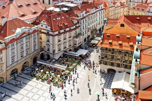 Elevated View of Old Town Square, as seen from the Old Town Hall, Prague, Czechia