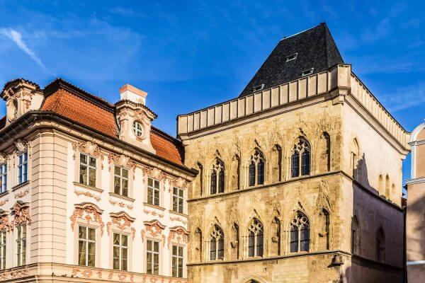 Stone Bell House (right) and Kinsky Palace (left) - Old Town Square, Prague, Czech Republic, Europe